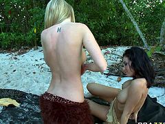 In order to get her wet pussy eaten and fingered, Amelia had to chase her girlfirend in the woods andseduce her by working her toungue in her pussy. Watch wild sex of these two horny lesbians on the beach in Brazzers network sex clips.