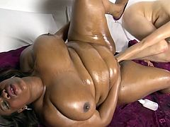 Needy sluts masturbating one another during top interracial lesbian porn show