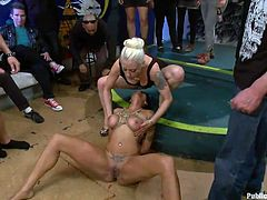 Cameron's hot legs are spread and Lee goes on top of her face, grinding her pussy on her mouth and whipping her hard. The beautiful brunette is under the control of her pussy and whips. The pain she feels is intensified with the feeling of disgrace and humiliation. After all that pussy it's time for some hard cocks!