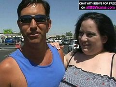 Horny dude that loves big women picks up Caucasian BBW whore at the parking lot. When they both appear in the studio slutty BBW woman starts pleasing his dick with her mouth lips.