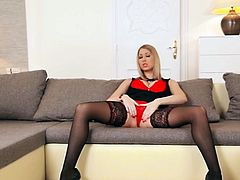 Beauty blonde Lexi Lowe poses in her red lingerie
