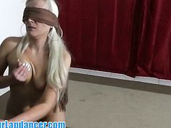 Another blindfolded girl for your dirty fantasies.She told me, that doing blowjob with covered eyes is more intensive experience for her. Well…why not.So enjoy this hot stuff!