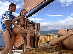Anal Sex in FFM Threesome on a Vessel with Claudia Rossi and Maya Gold