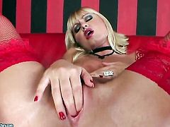 Blonde Gitta Blond is horny as hell and fucks herself with toy with wild passion