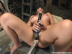 This kinky and luscious siren Penny Flame is enjoying the most amazing penetration in her life. It is performed by a powerful fucking machine!