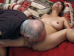 Nasty Japanese chick gets her hairy pussy licked by an old fart. Later on she gets fingered and toyed as she likes.