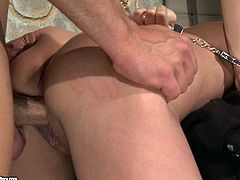 Slutty brunette gets her pussy drilled hard in rough BDSM way
