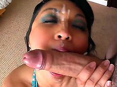 Mature skillful and experienced asian hooker Mika Tan with colorful heavy make up sucks Jonni Darkko and Winston Burbank with long meaty cannon until she gets face covered in cum.