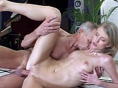 Skinny blonde receives full pleasure from old guy with a hard one