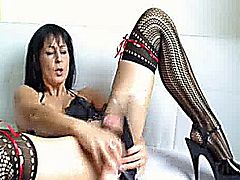 Hot amateur milf stuffs her massive cunt with three huge dildos and a beer bottle till she orgasms
