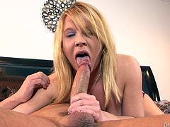 Lustful blonde wife plays with her pussy to make her hubby horny. Then she gives him passionate blowjob and gets rammed in the ass.
