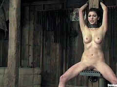 Sweet brunette chick with nice tits and the sweet blonde get tied up in a wooden cabin. Then they get clothespinned and toyed by their master.