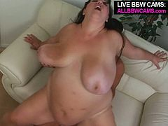 Outrageous BBW slut takes massive cock in her mouth sucking the sausage greedily. After hot blowjob she gets pounded bad doggy style. Along with this action cock riding scene is also in.