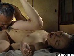 Asian slut gives a blowjob and fucks this japanese small cock missionary. Her small tits are very sexy and she enjoy sucking his cock.
