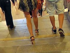 Dirty voyeur feeds his desires by filming hotties under their skirts in public sessions