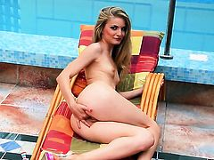 Cayenne Klein with shaved beaver dreaming about real sex with real man with dildo in her muff pie