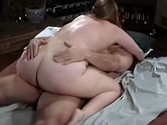 Blonde BBW chick gets licked in pussy and fucked missionary and cowgirl style by horny guy with big cock. This is an old video from her collection.