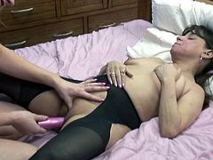 One seductive babe spreads her legs in front of insatiable lesbian girlfriend. She dives between her legs and polishes and finger fucks her juicy slit.