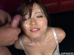 Yua Kuramochi is a very perverted little slut. Look at her as she enjoys sucking 4 dicks at once in front of the camera without any shame. Things get even more hot when she gets the facial of her dreams. She loves working for each cum shot on her face and doesn't stop until everyone gets a turn on her.