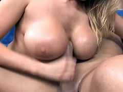 Alanah Rae is a busty and vicious blonde ready to ride a hard cock while wearing black crotchless nylons. See her getting fucked into a spectacularly intense orgasm.
