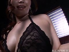Sayuki Kanno wants you to see her ass and big tits as close as possible so she moves her lingerie so you can enjoy her.