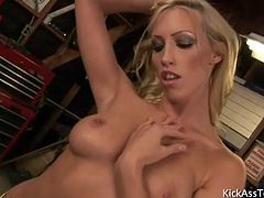 Solo tanned blonde Cassie Young striptease