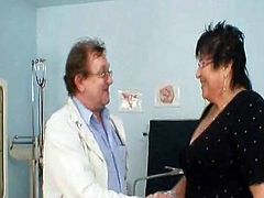 Perverted gyn Doctor exAmines good Mature woman who got massive tits and wear glasses. she is about fifty years aged and this is A regular gyno exam.