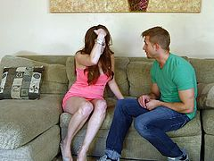 She's talking on the phone about her tv set and then this guy comes in and helps her with the remote. Mom Alison begins to talk with him and complains that she's divorced and doesn't has a man any more. Well, it's her lucky day because this dude is about to fill in that place, and her mouth too!