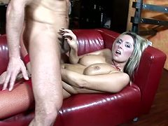This juicy and kinky lust Daria Glower is making some wild love with her man! She gives him a nice blowjob and then her tits shake by every move of his cock in her beaver!
