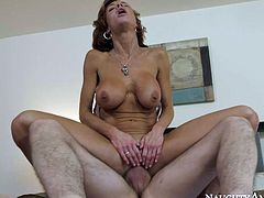 Well experienced curvy mommy Veronica Avluv is all naked giving her fucker a blowjob. She rides his shaft in cowgirl pose and rubs her clit reaching shuddering orgasm.