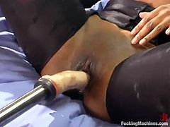 Sexy big-breasted black chick Africa is having some good time alone. She fondles her amazing body and then takes a wild ride on a fucking machine.
