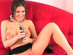 Huge tits brunette beauty loves posing when drilling her cunt with a toy cock