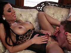 Chanel Preston, Gia Dimarco, Lorelei Lee and Sebastian Keys are getting naughty in the living room. The girls ask the man to lick their feet and please him with a footjob afterwards.