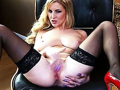 Georgie Lyall with big tits and bald beaver cant live a day without fingering her vagina