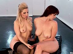 Brunette girl gets tied up by her blonde mistress. Later on this brunette gets her pussy drilled with the electric strap-on.