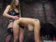 Zesty brunette Alexa is having fun with Kym Wilde in a basement. Kym binds Alexa and puts a gag in her mouth and then smashes her vag with a massive strapon.