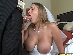 A fuckin' hot bitch wearing a wedding dress gets her fuckin' tight gash stuffed with fuckin' dick, hit play and check it out right here!