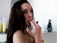 Brunette Gracie Glam plays with herself for camera
