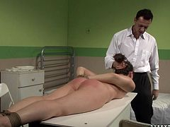 Gyno examination goes out of control. Prevert doctor grabs his patient by her head and pulls her towards his rock hard erection. She sucks his dick greedily as if her life depends on it.