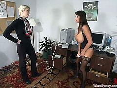 Summer Cummings takes her clothes off and plays with her pussy. Later on a blonde girl ties Summer up and toys her pussy with an electric dildo.