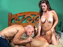Busty Raquel Devine enjoys having threesome sex with two bisexual men