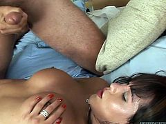 Hot tempered brunette ladyboy fucks her boyfriend in doggy style position. She fucks his backside and her balls pokes his balls.