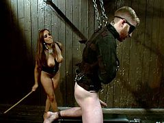 This is a true act of sadism performed by a divine bitch Francesca Le. Honey chains Sebastian Keys and gags his mouth so that he won't scream from pain!