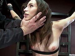 Pretty dark-haired girl Amber Rayne is getting her punishment for being so naughty. She lets some dude bind and attach clothespegs to her tits and then rubs her pussy against a fucking machine.