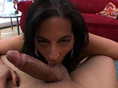 Slutty mature sucking on tasty dick