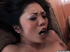 Angel faced temptress Kaiya Lynn attracts mens attention with her fuckable deadeye