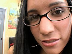 Young babe with sexy glasses goes deep in POV and enjoys full load on face
