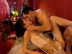 Kinky Claudia Jamsson sucks big cock passionately. Then she takes her dress off and gets pounded in her dripping pussy in front of some other chicks.