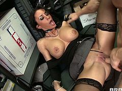 This brunette sexpot in sexy black stockings always gets whats she wants. She spreads her legs wide to let her lover get a taste of her delicious pussy. He licks it with great enthusiasm. Then he fucks her muff in missionary position.