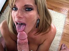 Alluring milf goes nasty with a big cock up her warm mouth